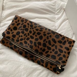 Clare V. Genuine Calf Hair Leopard Clutch